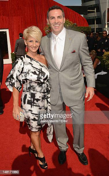 Former NFL player Kurt Warner and wife Brenda Warner arrive at the 2012 ESPY Awards at Nokia Theatre LA Live on July 11 2012 in Los Angeles California