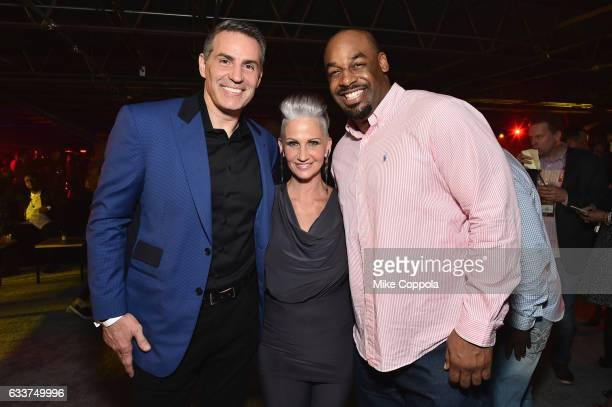 Former NFL player Kurt Warner author Brenda Warner and former NFL player Donovan McNabb attend the 13th Annual ESPN The Party on February 3 2017 in...