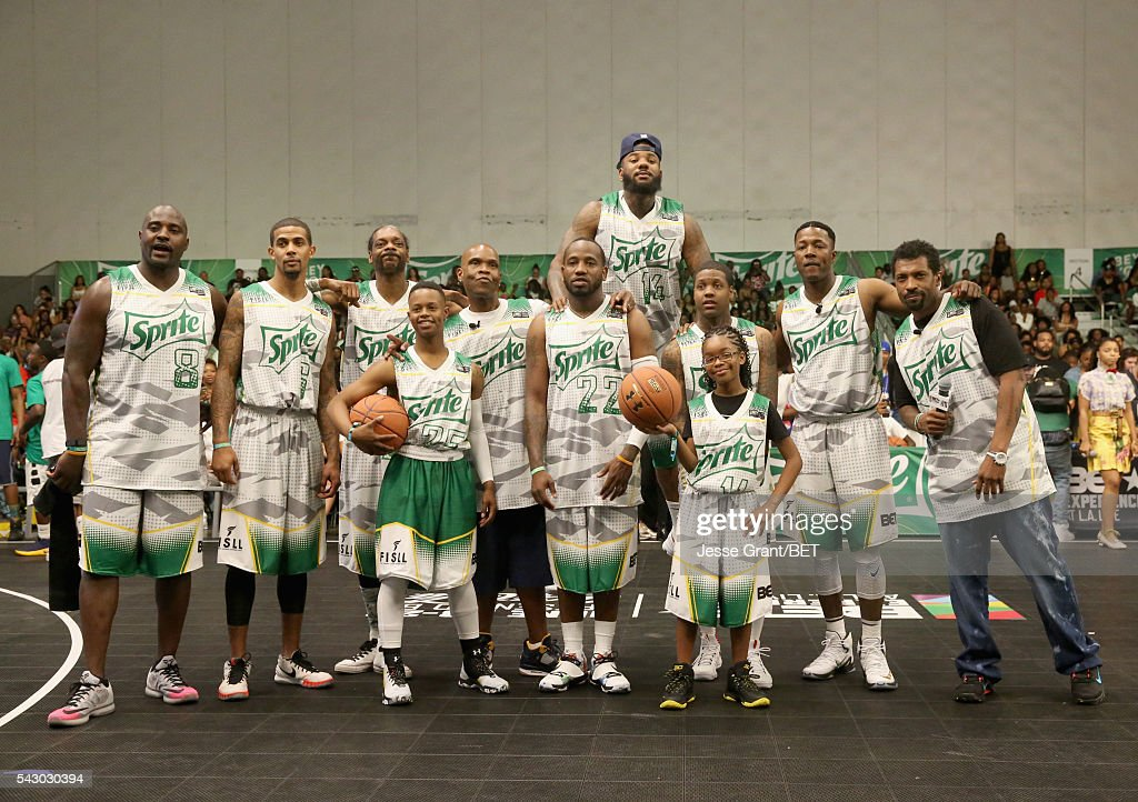 Former NFL player Marcellus Wiley, dunk artist Guy Dupuy, recording artist Snoop Dogg, recording artist Silento, radio personality Big Boy, recording artists Young Greatness, The Game and Lil Durk, actress Marsai Martin and actors Flex Alexander and Deon Cole participate in the celebrity basketball game presented by Sprite during the 2016 BET Experience on June 25, 2016 in Los Angeles, California.