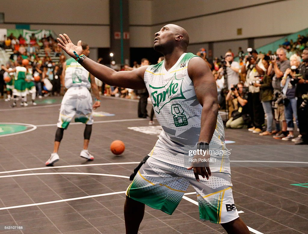 Former NFL player <a gi-track='captionPersonalityLinkClicked' href=/galleries/search?phrase=Marcellus+Wiley&family=editorial&specificpeople=2122289 ng-click='$event.stopPropagation()'>Marcellus Wiley</a> participates in the celebrity basketball game presented by Sprite during the 2016 BET Experience on June 25, 2016 in Los Angeles, California.