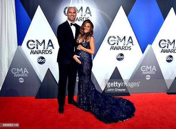 Former NFL player Mike Caussin and recording artist and actress Jana Kramer attend the 49th annual CMA Awards at the Bridgestone Arena on November 4...