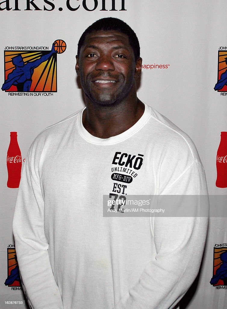 Former NFL player <a gi-track='captionPersonalityLinkClicked' href=/galleries/search?phrase=Roman+Oben&family=editorial&specificpeople=763324 ng-click='$event.stopPropagation()'>Roman Oben</a> poses for a photo during the John Starks Foundation Celebrity Bowling Tournament on February 25, 2013 in New York City.