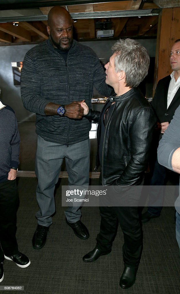 Former NFL player Shaquille O'Neal and recording artist <a gi-track='captionPersonalityLinkClicked' href=/galleries/search?phrase=Jon+Bon+Jovi&family=editorial&specificpeople=201527 ng-click='$event.stopPropagation()'>Jon Bon Jovi</a> attend the Fanatics Super Bowl Party on February 6, 2016 in San Francisco, California.