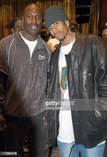 Former NFL player Terrell Davis and Allen Iverson of the Philadelphia 76ers