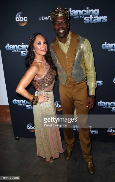 Former NFL player Terrell Owens and dancer Cheryl Burke pose at 'Dancing with the Stars' season 25 at CBS Televison City on October 16 2017 in Los...
