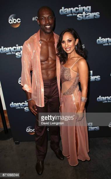 Former NFL player Terrell Owens and dancer Cheryl Burke pose at 'Dancing with the Stars' season 25 at CBS Televison City on November 6 2017 in Los...