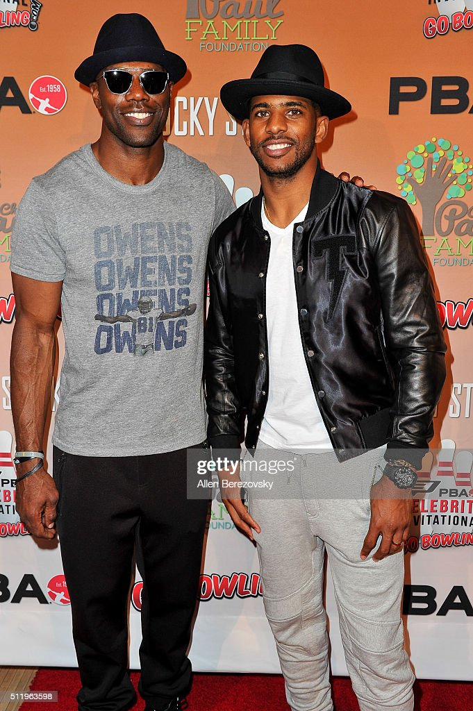 Former NFL player Terrell Owens and NBA star Chris Paul attend the CP3 PBA Celebrity Invitational Charity Bowling Tournament presented by GoBowling.com at Lucky Strike Lanes at L.A. Live on February 23, 2016 in Los Angeles, California.