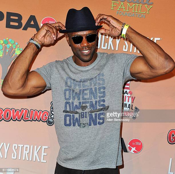 Former NFL player Terrell Owens attends the CP3 PBA Celebrity Invitational Charity Bowling Tournament presented by GoBowlingcom at Lucky Strike Lanes...