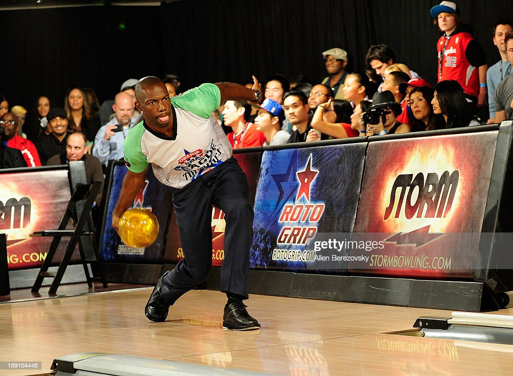 Former NFL player Terrell Owens bowls at the 5th annual Chris Paul PBA All-Stars Invitational hosted by LA Clippers star guard Chris Paul at Lucky Strike Lanes at L.A. Live on January 7, 2013 in Los Angeles, California.