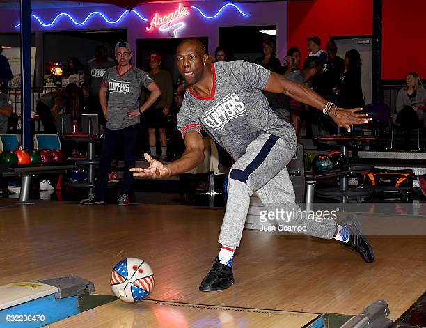 Former NFL player Terrell Owens bowls during the LA Clippers Foundation Hosts Annual Charity Basketbowl Challenge Presented by Children's Hospital...