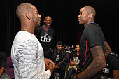 Former NFL player Terrell Owens talks with Chris Paul and Jamal Crawford of the Los Angeles Clippers at the 16th annual Charity BasketBowl Challenge...