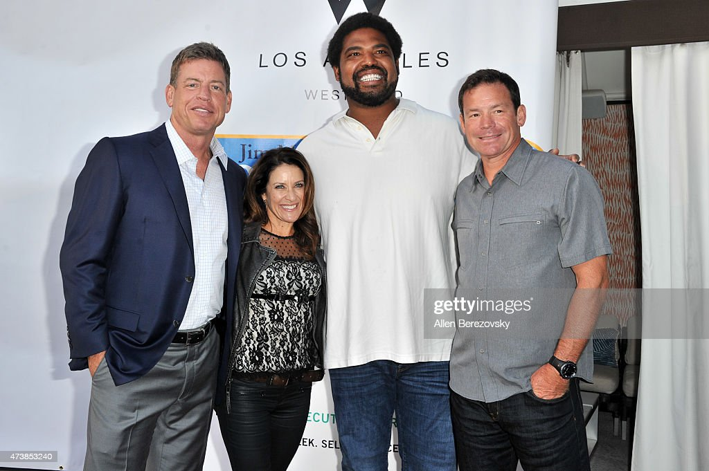 Former NFL player <a gi-track='captionPersonalityLinkClicked' href=/galleries/search?phrase=Troy+Aikman&family=editorial&specificpeople=206871 ng-click='$event.stopPropagation()'>Troy Aikman</a>, Shannon Mora, former NFL player <a gi-track='captionPersonalityLinkClicked' href=/galleries/search?phrase=Jonathan+Ogden&family=editorial&specificpeople=216522 ng-click='$event.stopPropagation()'>Jonathan Ogden</a> and oach <a gi-track='captionPersonalityLinkClicked' href=/galleries/search?phrase=Jim+Mora&family=editorial&specificpeople=210729 ng-click='$event.stopPropagation()'>Jim Mora</a>, Jr. and wife attend the 9th annual <a gi-track='captionPersonalityLinkClicked' href=/galleries/search?phrase=Jim+Mora&family=editorial&specificpeople=210729 ng-click='$event.stopPropagation()'>Jim Mora</a> Celebrity Golf Classic - VIP appreciation celebrity cocktail reception at W Los Angeles West Beverly Hills on May 17, 2015 in Los Angeles, California.