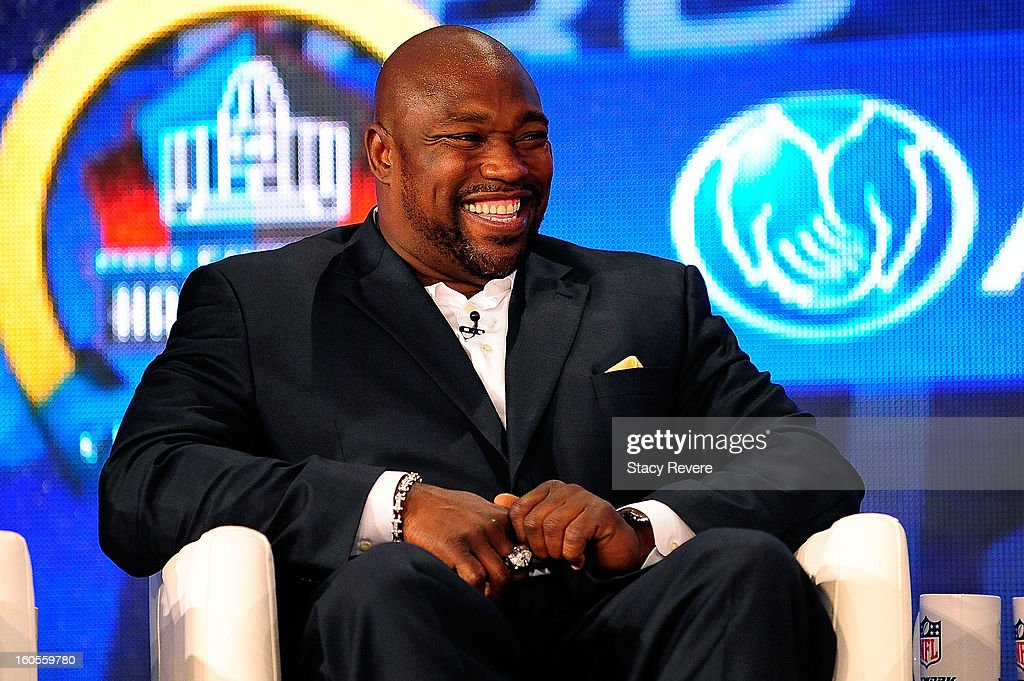 Former NFL player <a gi-track='captionPersonalityLinkClicked' href=/galleries/search?phrase=Warren+Sapp&family=editorial&specificpeople=162706 ng-click='$event.stopPropagation()'>Warren Sapp</a> enjoys a light moment after being elected into the Pro Football Hall of Fame during the Pro Football Hall of Fame Press Conference at the New Orleans Convention Center on February 2, 2013 in New Orleans, Louisiana.