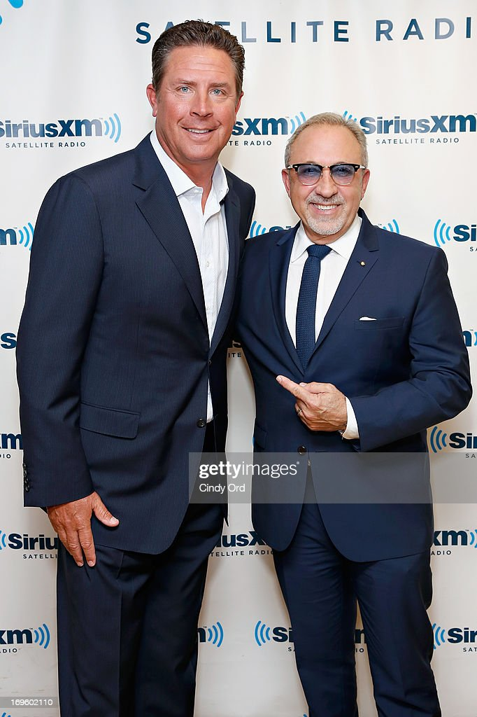 Former NFL quarterback <a gi-track='captionPersonalityLinkClicked' href=/galleries/search?phrase=Dan+Marino&family=editorial&specificpeople=203298 ng-click='$event.stopPropagation()'>Dan Marino</a> and musician/producer Emilio Estefan visit the SiriusXM Studios on May 28, 2013 in New York City.