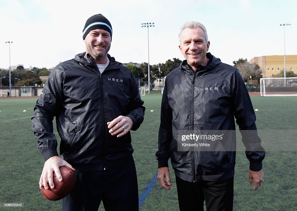 Former NFL quarterback <a gi-track='captionPersonalityLinkClicked' href=/galleries/search?phrase=Trent+Dilfer&family=editorial&specificpeople=206857 ng-click='$event.stopPropagation()'>Trent Dilfer</a> and former NFL quarterback <a gi-track='captionPersonalityLinkClicked' href=/galleries/search?phrase=Joe+Montana&family=editorial&specificpeople=206967 ng-click='$event.stopPropagation()'>Joe Montana</a> attend 'QB Legends On Demand' presented by Uber and Bai at Raymond Kimbell Playground on February 2, 2016 in San Francisco, California.