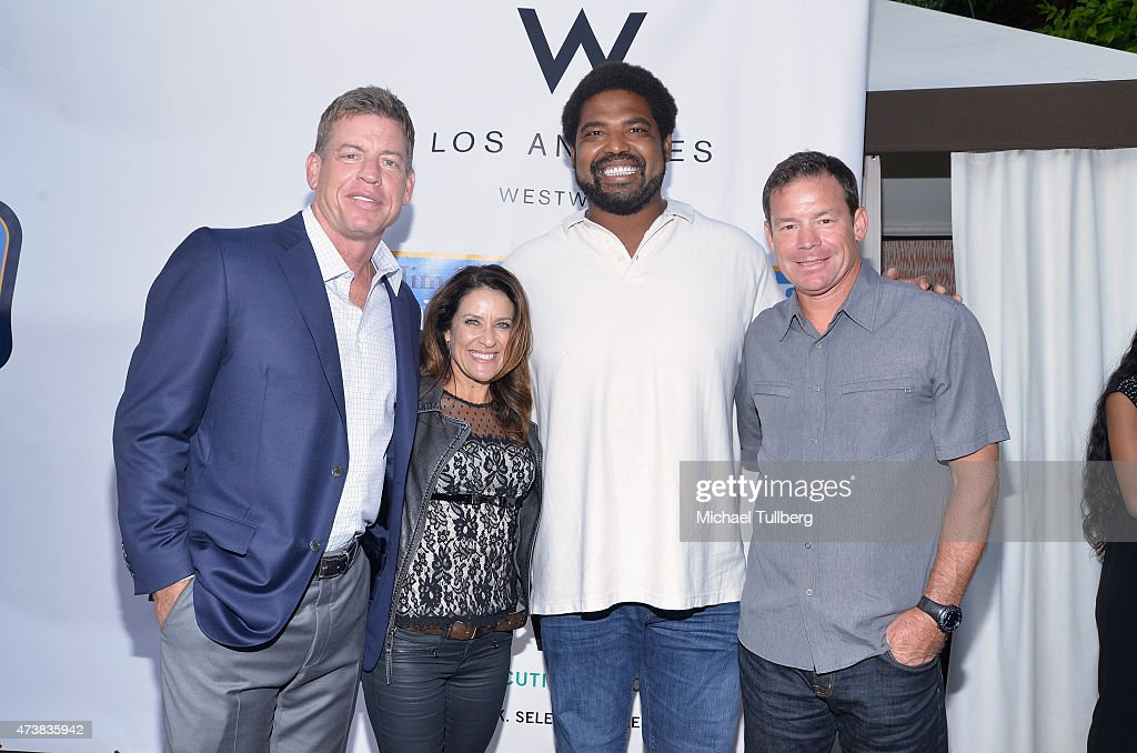 Former NFL quarterback <a gi-track='captionPersonalityLinkClicked' href=/galleries/search?phrase=Troy+Aikman&family=editorial&specificpeople=206871 ng-click='$event.stopPropagation()'>Troy Aikman</a>, Shannon Mora, fromer NFL player <a gi-track='captionPersonalityLinkClicked' href=/galleries/search?phrase=Jonathan+Ogden&family=editorial&specificpeople=216522 ng-click='$event.stopPropagation()'>Jonathan Ogden</a> and UCLA football coach <a gi-track='captionPersonalityLinkClicked' href=/galleries/search?phrase=Jim+Mora&family=editorial&specificpeople=210729 ng-click='$event.stopPropagation()'>Jim Mora</a> attend the VIP Appreciation Celebrity Reception celebrating the 9th Annual <a gi-track='captionPersonalityLinkClicked' href=/galleries/search?phrase=Jim+Mora&family=editorial&specificpeople=210729 ng-click='$event.stopPropagation()'>Jim Mora</a> Celebrity Golf Classic at W Los Angeles West Beverly Hills on May 17, 2015 in Los Angeles, California.