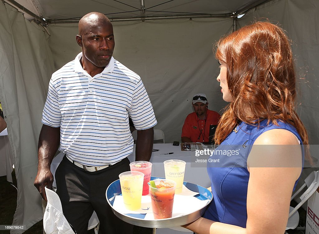 Former NFL running back Terrell Davis (L) attends the Marshall Faulk Celebrity Golf Championship Presented by GREY GOOSE held at La Costa Resort & Spa on May 19, 2013 in Carlsbad, California.