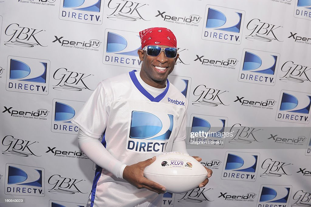 Former NFL/MLB player Deion Sanders attends GBK and DirecTV Celebrity Beach Bowl Thank You Lounge at DTV SuperFan Stadium at Mardi Gras World on February 2, 2013 in New Orleans, Louisiana.