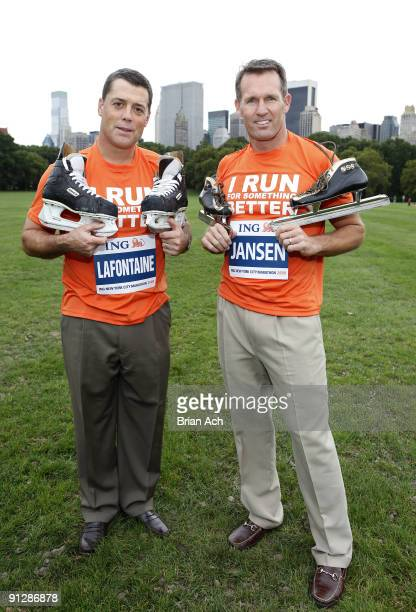 Former NHL great Pat LaFontaine and Olympic speedskating gold medalist Dan Jansen attend a portrait session in Central Park for ING's Run For...