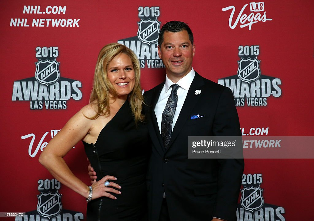 Former NHL player Bill Guerin and wife Kara arrive on the red carpet before the 2015 NHL Awards at MGM Grand Garden Arena on June 24 2015 in Las...