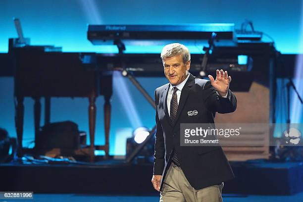 Former NHL player Bobby Orr is introduced during the NHL 100 presented by GEICO Show as part of the 2017 NHL AllStar Weekend at the Microsoft Theater...