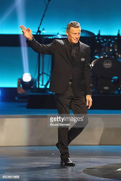 Former NHL player Borje Salming is introduced during the NHL 100 presented by GEICO Show as part of the 2017 NHL AllStar Weekend at the Microsoft...