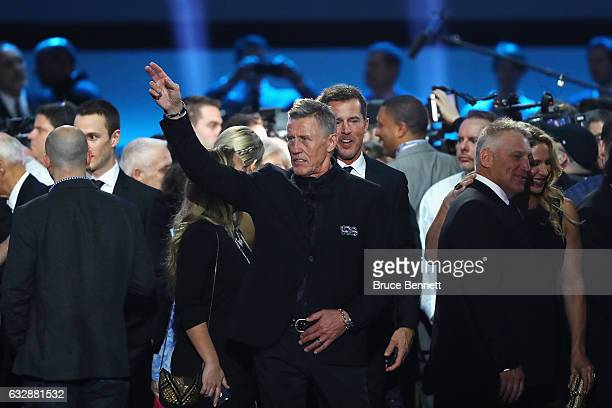 Former NHL player Borje Salming waves during the NHL 100 presented by GEICO Show as part of the 2017 NHL AllStar Weekend at the Microsoft Theater on...
