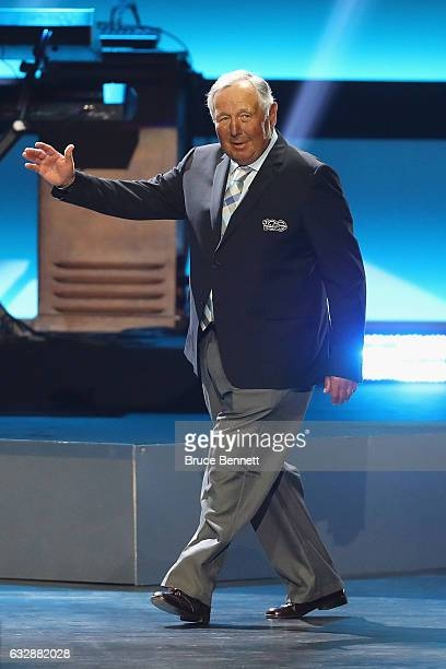Former NHL player Brad Park is introduced during the NHL 100 presented by GEICO Show as part of the 2017 NHL AllStar Weekend at the Microsoft Theater...