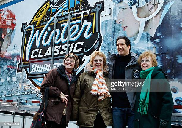 Former NHL player Brendan Shanahan poses for photos with fans prior to an appearance on the 'Today' show durng the NHL Winter Classic Truck Tour on...