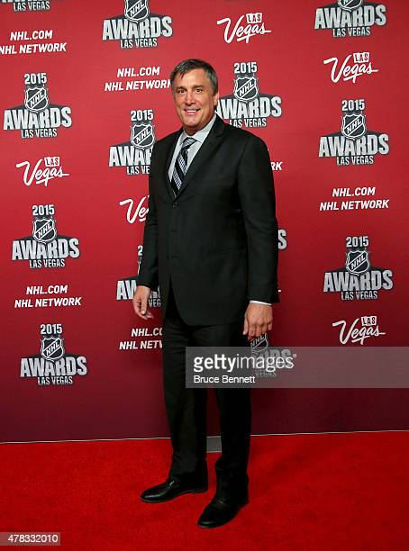 Former NHL player Cam Neely arrives on the red carpet before the 2015 NHL Awards at MGM Grand Garden Arena on June 24 2015 in Las Vegas Nevada