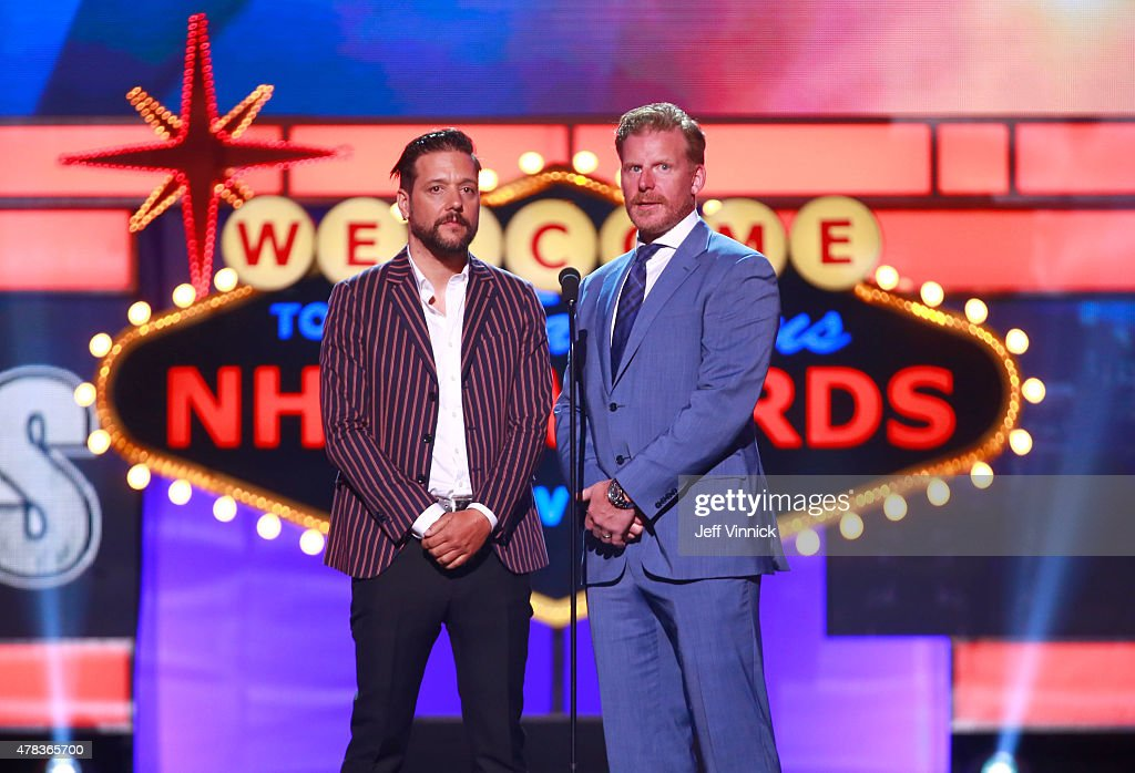 Former NHL player Daniel Alfredsson and George Stroumboulopoulos speak onstage during the 2015 NHL Awards at MGM Grand Garden Arena on June 24 2015...