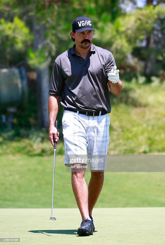 Former NHL player <a gi-track='captionPersonalityLinkClicked' href=/galleries/search?phrase=George+Parros&family=editorial&specificpeople=557239 ng-click='$event.stopPropagation()'>George Parros</a> reacts to a shot during the 2015 NHL Awards nominee golf outing at Shadow Creek Country Club on June 23, 2015 in Las Vegas, Nevada. The 2015 NHL Awards will be held on June 24, 2015 at the MGM Grand Garden Arena.