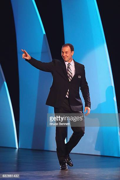Former NHL player Joe Nieuwendyk is introduced during the NHL 100 presented by GEICO Show as part of the 2017 NHL AllStar Weekend at the Microsoft...