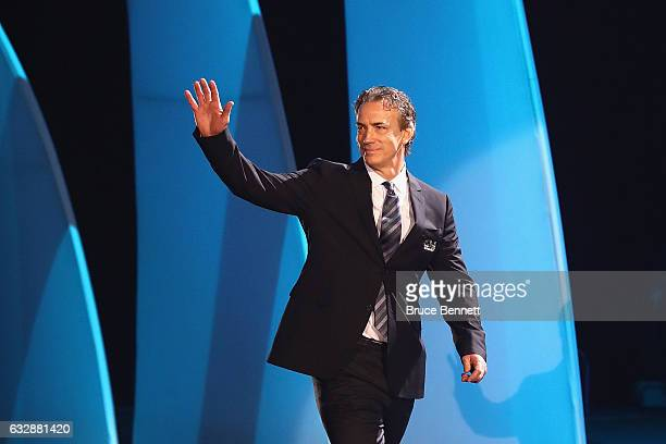 Former NHL player Joe Sakic is introduced during the NHL 100 presented by GEICO Show as part of the 2017 NHL AllStar Weekend at the Microsoft Theater...