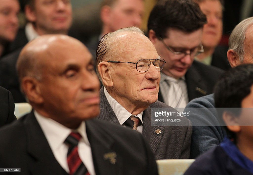 Former NHL player Johnny Bower attends the 2012 NHL All-Star Game - H.E.R.O.S. Community Program Launch at Rideau Hall on January 28, 2012 in Ottawa, Ontario, Canada.