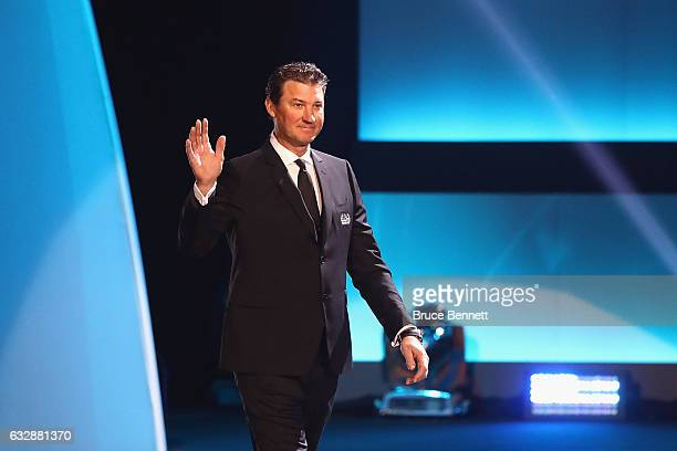 Former NHL player Mario Lemieux is introduced during the NHL 100 presented by GEICO Show as part of the 2017 NHL AllStar Weekend at the Microsoft...