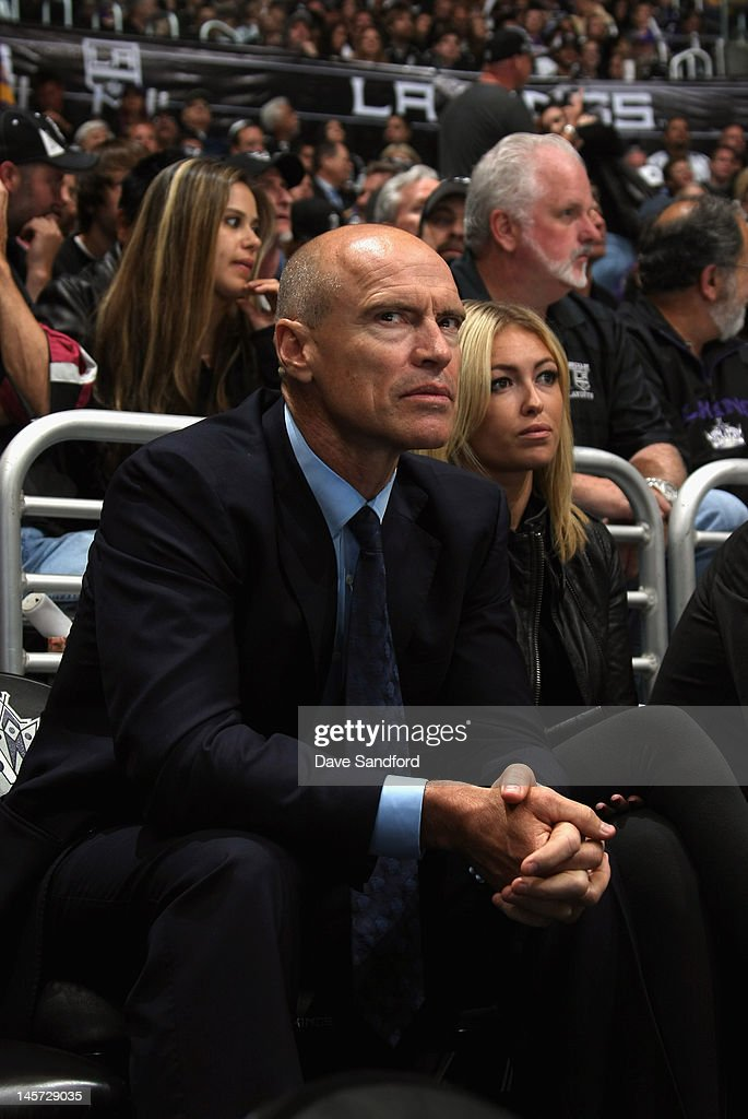 Former NHL player Mark Messier sits next to Paulina Gretzky, daughter of Wayne Gretzky while watching the New Jersey Devils play the Los Angeles Kings in Game Three of the 2012 Stanley Cup Final at the Staples Center on June 4, 2012 in Los Angeles, California.
