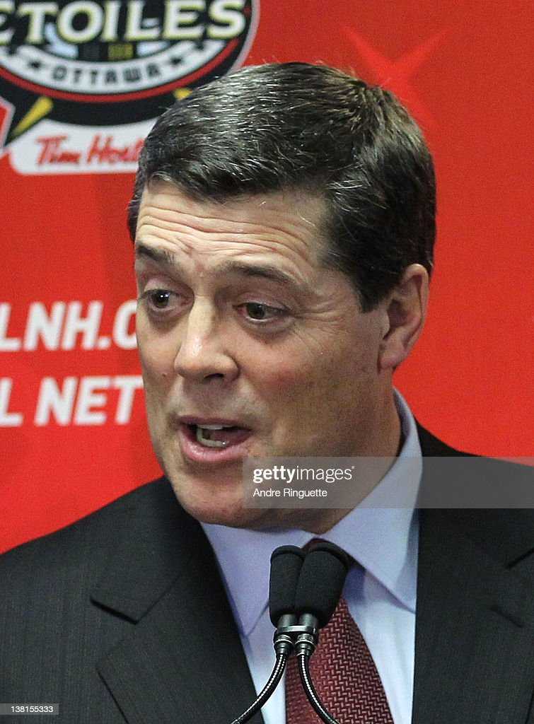 Former NHL player Pat LaFontaine speaks from the podium at the unveiling of the NHL All-Star Legacy Playroom at Children's Hospital of Eastern Ontario on January 27, 2012 in Ottawa, Canada.