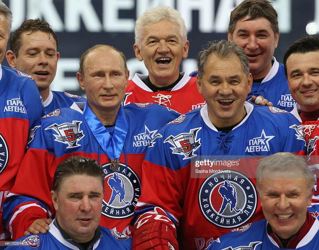 Former NHL player <a gi-track='captionPersonalityLinkClicked' href=/galleries/search?phrase=Pavel+Bure&family=editorial&specificpeople=209299 ng-click='$event.stopPropagation()'>Pavel Bure</a>, Olympic Champion Alexei Kasatonov, Russian President <a gi-track='captionPersonalityLinkClicked' href=/galleries/search?phrase=Vladimir+Putin&family=editorial&specificpeople=154896 ng-click='$event.stopPropagation()'>Vladimir Putin</a>, businessman and billionaire <a gi-track='captionPersonalityLinkClicked' href=/galleries/search?phrase=Gennady+Timchenko&family=editorial&specificpeople=10841361 ng-click='$event.stopPropagation()'>Gennady Timchenko</a>, Defence Minister Sergei Shoigu, former NHL player Vyacheslav 'Slava' Fetisov attend an ice hockey match of the Night Hockey League on October 7, 2015 in Sochi, Russia. Putin spends his 63rd birthday playing hockey with NHL stars.