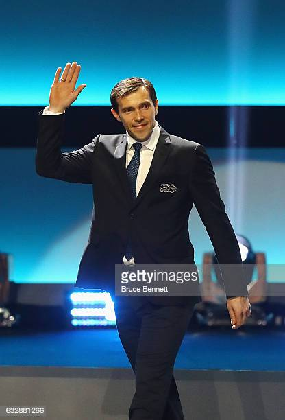 Former NHL player Pavel Datsyuk is introduced during the NHL 100 presented by GEICO Show as part of the 2017 NHL AllStar Weekend at the Microsoft...