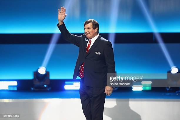 Former NHL player Serge Savard is introduced during the NHL 100 presented by GEICO Show as part of the 2017 NHL AllStar Weekend at the Microsoft...