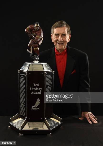 Former NHL player Ted Lindsay poses for a portrait with the Ted Lindsay Award at the 2017 NHL Awards at TMobile Arena on June 21 2017 in Las Vegas...