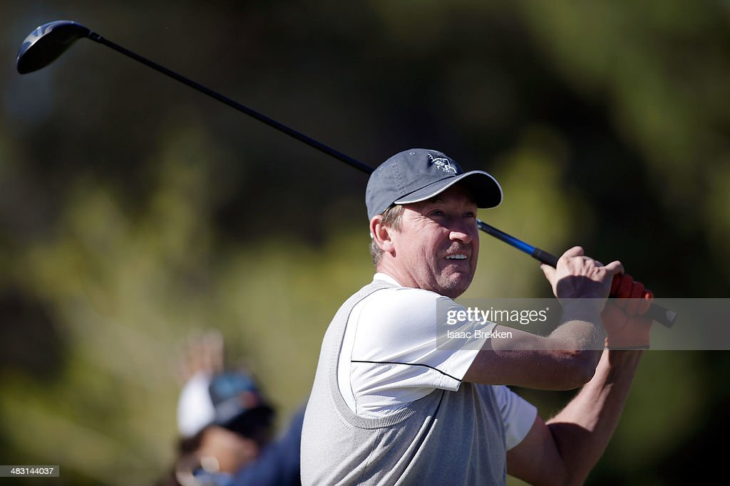 Former NHL player Wayne Gretzky hits a tee shot during Aria Resort & Casino's 13th Annual Michael Jordan Celebrity Invitational at Shadow Creek on April 6, 2014 in North Las Vegas, Nevada.