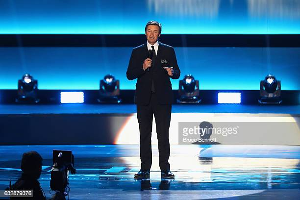 Former NHL player Wayne Gretzky speaks on stage during the NHL 100 presented by GEICO Show as part of the 2017 NHL AllStar Weekend at the Microsoft...