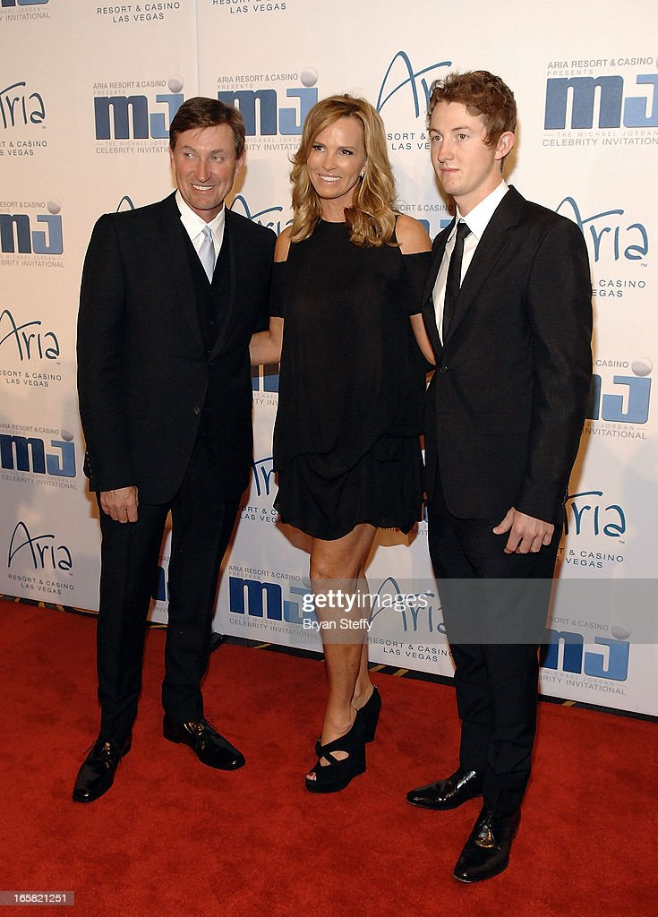 Former NHL player Wayne Gretzky, wife Janet Jones-Gretzky and their son Trevor Gretzky arrive at the 12th Annual Michael Jordan Celebrity Invitational Gala At ARIA Resort & Casino on April 5, 2013 in Las Vegas, Nevada.