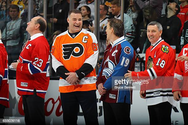 Former NHL players Eric Lindros and Joe Sakic joke prior to the 2017 Honda NHL AllStar Game at Staples Center on January 29 2017 in Los Angeles...