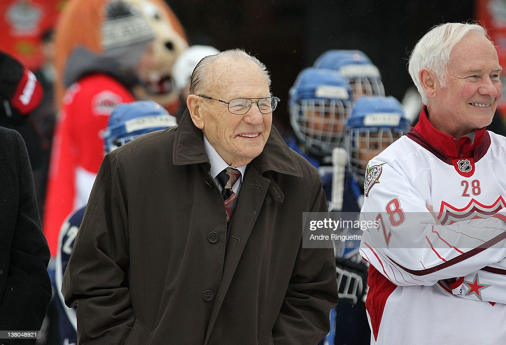Former NHL players <a gi-track='captionPersonalityLinkClicked' href=/galleries/search?phrase=Johnny+Bower&family=editorial&specificpeople=239053 ng-click='$event.stopPropagation()'>Johnny Bower</a> looks on with Governor General of Canada David Johnston at the 2012 NHL All-Star Game - H.E.R.O.S. Community Program Launch at Rideau Hall on January 28, 2012 in Ottawa, Ontario, Canada.