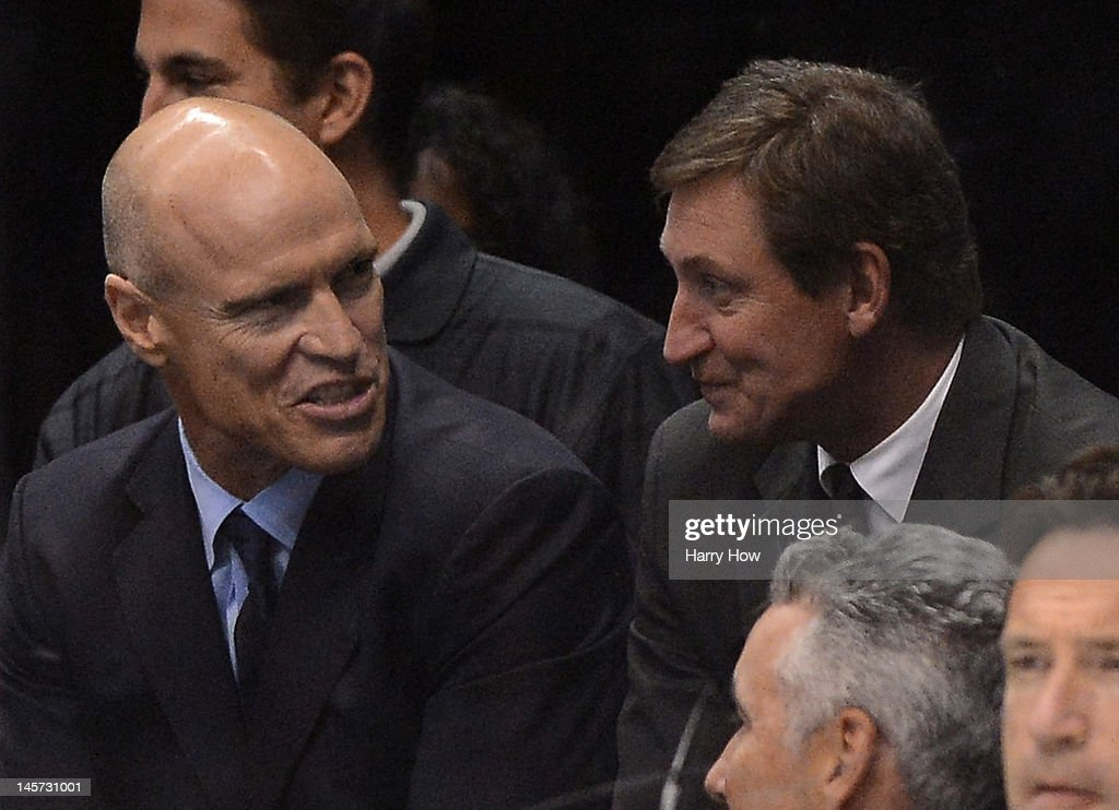 Former NHL players Mark Messier and Wayne Gretzky look on during Game Three of the 2012 Stanley Cup Final between the New Jersey Devils and the Los Angeles Kings at Staples Center on June 4, 2012 in Los Angeles, California.
