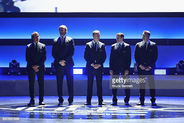 Former NHL players Teemu Selanne Chris Pronger Nicklas Lidstrom Pavel Datsyuk and Martin Brodeur stand on stage during the NHL 100 presented by GEICO...
