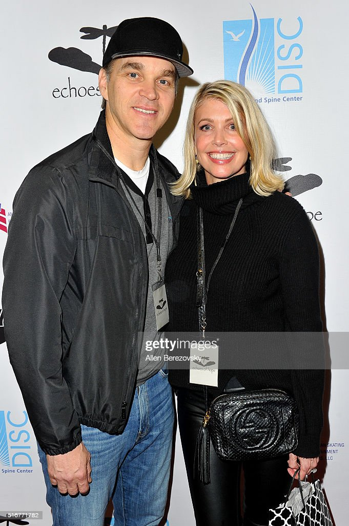 Former NHL star Luc Robitaille and wife Stacey Toten attend the Luc Robitaille Celebrity Shootout at Toyota Sports Center on March 20 2016 in El...